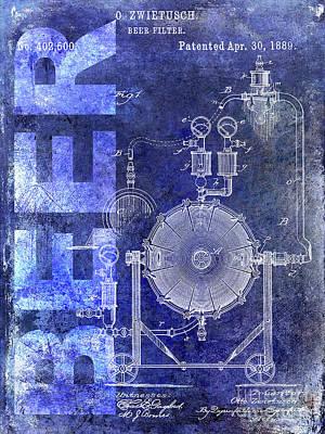 Modern Micro Art Photograph - 1889 Beer Filter Patent Blue by Jon Neidert