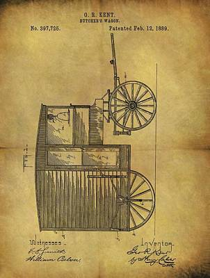 Drawing - 1889 Butcher's Wagon Patent by Dan Sproul