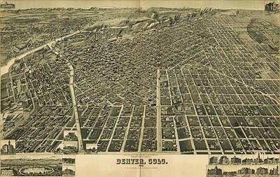 Mixed Media - 1889 Denver Colorado Map by Dan Sproul