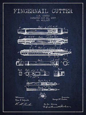 Finger Drawing - 1889 Fingernail Cutter Patent - Navy Blue by Aged Pixel