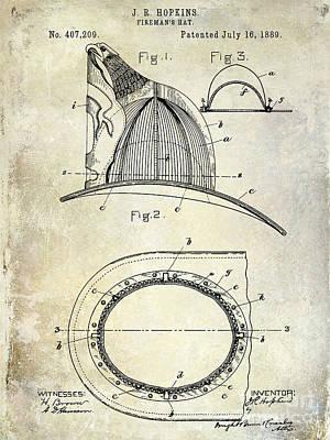 Firetruck Photograph - 1889 Firemans Hat Patent by Jon Neidert