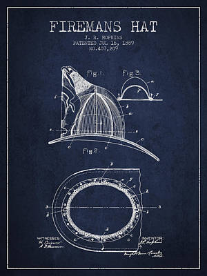 Gear Digital Art - 1889 Firemans Hat Patent - Navy Blue by Aged Pixel
