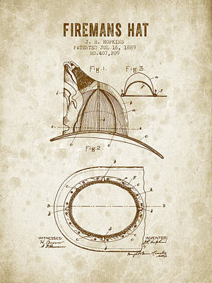 1889 Firemans Hat Patent - Vintage Grunge Print by Aged Pixel