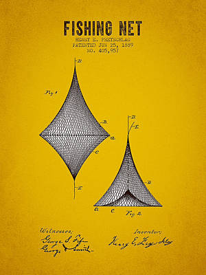 1889 Fishing Net Patent - Yellow Brown Art Print by Aged Pixel