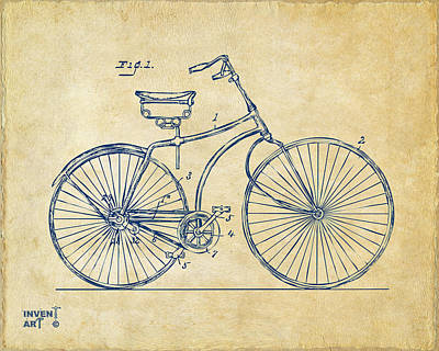 Fine Drawing - 1890 Bicycle Patent Minimal - Vintage by Nikki Marie Smith