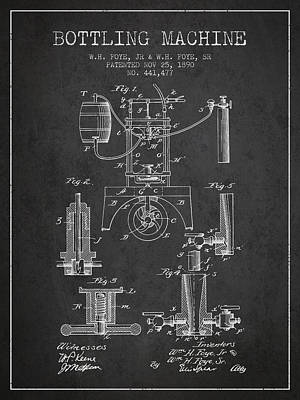 Beer Royalty-Free and Rights-Managed Images - 1890 Bottling Machine patent - Charcoal by Aged Pixel