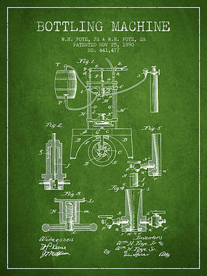 Beer Royalty-Free and Rights-Managed Images - 1890 Bottling Machine patent - green by Aged Pixel