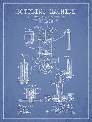 Beer Royalty-Free and Rights-Managed Images - 1890 Bottling Machine patent - light blue by Aged Pixel