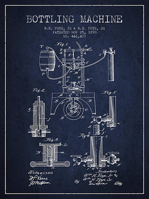 Beer Royalty-Free and Rights-Managed Images - 1890 Bottling Machine patent - navy blue by Aged Pixel