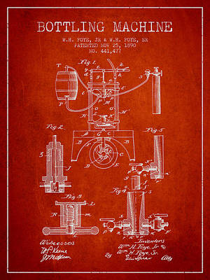Beer Royalty-Free and Rights-Managed Images - 1890 Bottling Machine patent - red by Aged Pixel