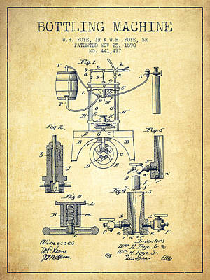 Food And Beverage Royalty-Free and Rights-Managed Images - 1890 Bottling Machine patent - vintage by Aged Pixel
