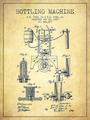 Food And Beverage Digital Art - 1890 Bottling Machine patent - vintage by Aged Pixel