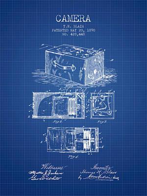 1890 Camera Patent - Blueprint Art Print