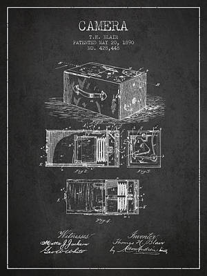 1890 Camera Patent - Charcoal Art Print by Aged Pixel