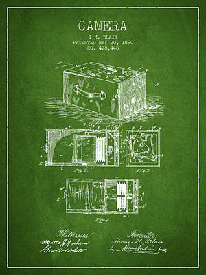1890 Camera Patent - Green Art Print by Aged Pixel