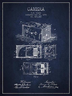 1890 Camera Patent - Navy Blue Art Print by Aged Pixel