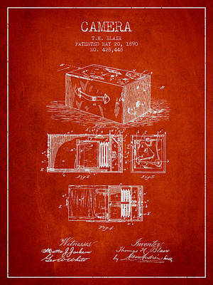 1890 Camera Patent - Red Art Print by Aged Pixel