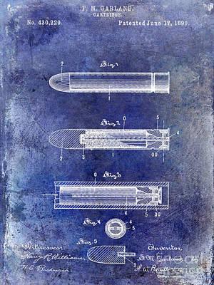 1890 Photograph - 1890 Cartridge Patent Blue by Jon Neidert