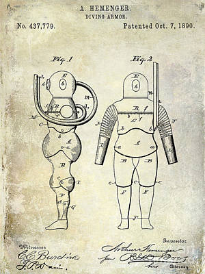 1890 Diving Armor Patent Art Print