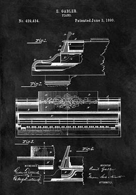 Musicians Drawings - 1890 Grand Piano Patent by Dan Sproul