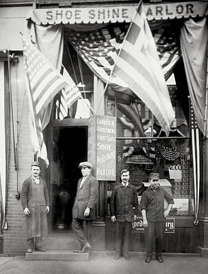 Photograph - 1890 Greek American Shoe Shine Shop Of Boston by Historic Image