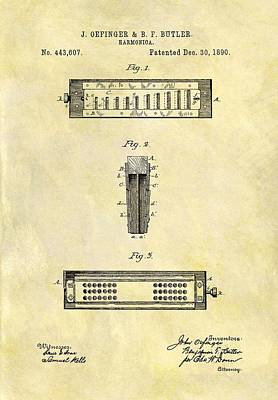 Musicians Drawings - 1890 Harmonica Patent by Dan Sproul