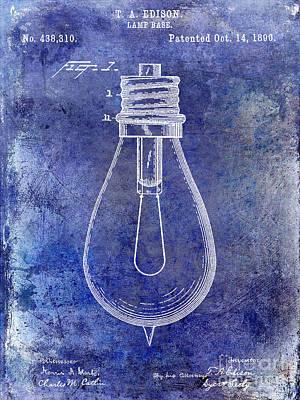 1890 Light Bulb Patent Blue Art Print by Jon Neidert