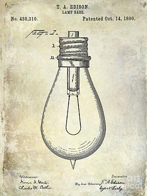1890 Light Bulb Patent Art Print by Jon Neidert