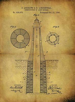 Drawing - 1890 Lighthouse Patent by Dan Sproul