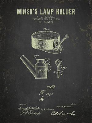 1890 Miners Lamp Holder - Dark Grunge Art Print by Aged Pixel