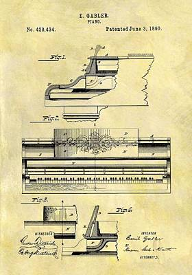 Musicians Drawings - 1890 Piano Patent by Dan Sproul