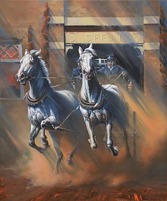 Art Of Mia Delode Painting - 1890's First Responders by Mia DeLode