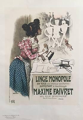 1890s Original French Art Nouveau Maitre De L'affiche Poster, Ligne Monopole, Plate 195 - Roedel Original