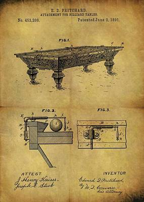 Billiard Mixed Media - 1891 Billiards Table Patent by Dan Sproul