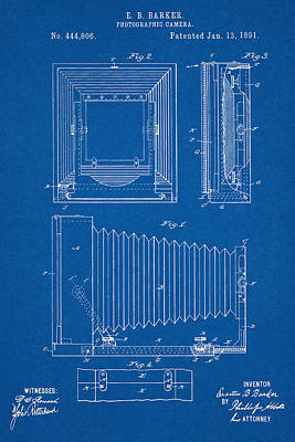 Digital Art - 1891 Camera Us Patent Invention Drawing - Blueprint by Todd Aaron