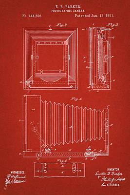 Digital Art - 1891 Camera Us Patent Invention Drawing - Red by Todd Aaron