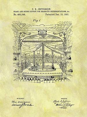 Entertain Mixed Media - 1891 Entertainment Stage Patent by Dan Sproul
