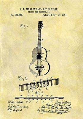 Musicians Drawings Rights Managed Images - 1891 Guitar Bridge Patent Royalty-Free Image by Dan Sproul
