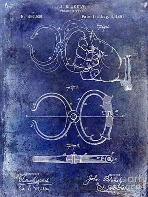 1891 Handcuff Patent Blue Art Print by Jon Neidert