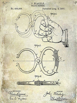 1891 Handcuff Patent Art Print by Jon Neidert