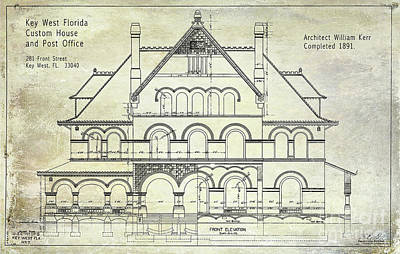1891 Key West Blueprint Of The Custom House Art Print by Jon Neidert