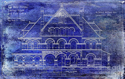 Old Keys Photograph - 1891 Key West Custom House Blueprint by Jon Neidert