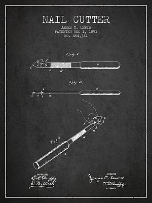 Finger Drawing - 1891 Nail Cutter Patent - Blueprint by Aged Pixel