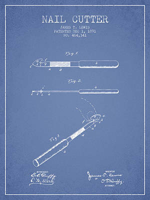 Finger Drawing - 1891 Nail Cutter Patent - Light Blue by Aged Pixel