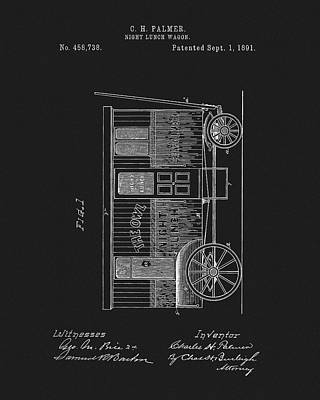 Wagon Wheels Mixed Media - 1891 Night Lunch Wagon Patent by Dan Sproul