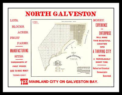 Drawing - 1891 North Galveston Texas Promotional Land Development Poster by Peter Gumaer Ogden