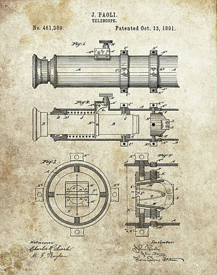Glass Art - 1891 Telescope Patent by Dan Sproul