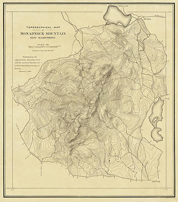 Photograph - 1891 Topographical Map Of Mount Monadnock Jaffrey Nh by Toby McGuire