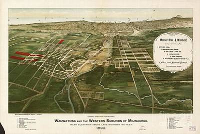 Watercolor Dragonflies - 1892 aerial map of Wauwatosa Wisconsin by Celestial Images