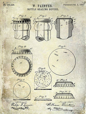 Coors Photograph - 1892 Bottle Cap Patent  by Jon Neidert